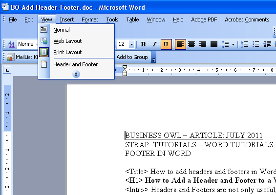 Headers and footers on word 2003?