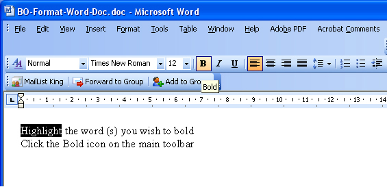 How to bold text in MS Word