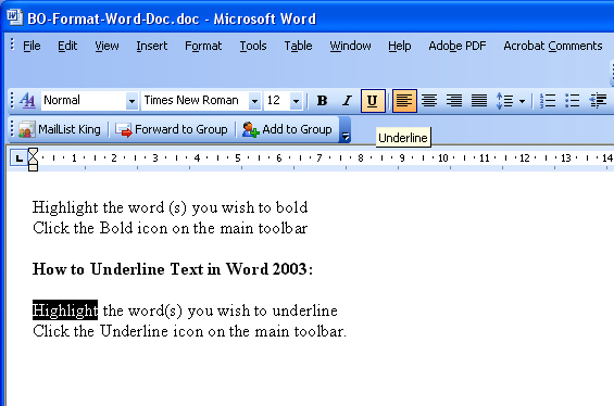 How to underline text in MS Word