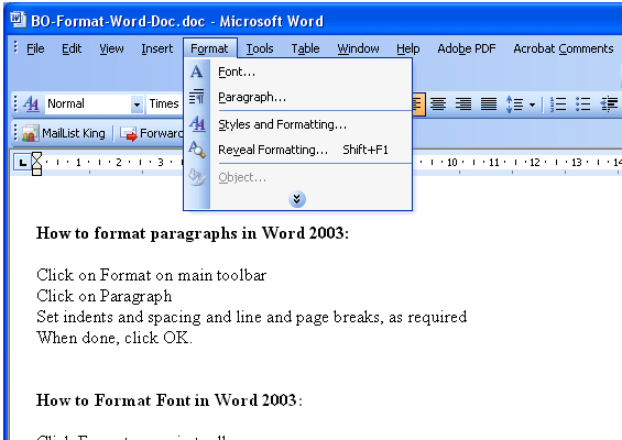 How to format font in Word 2003