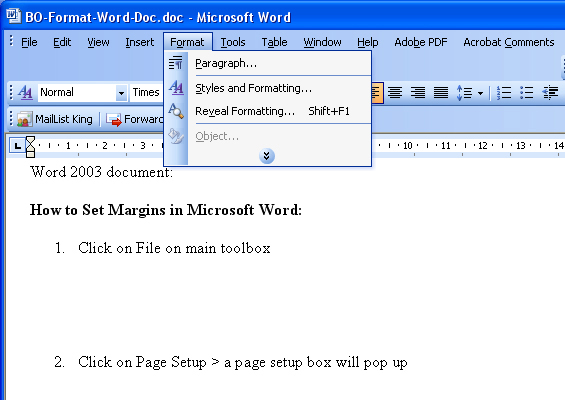 How to format paragraphs in MS Word