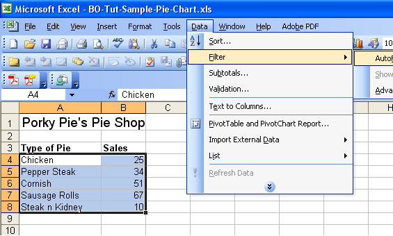 How to filter data in Excel